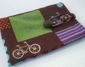 Tablet E Reader Cover Japanese Bicycle Print Linen & Wool