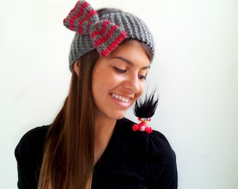 Headband with Bow. Alpaca and Wool. Grey with Red Stripes. Ear Warmer for Women, Teens, Girls