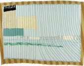 7.26.2012 small art quilt, contemporary, abstract, blue and white stripes, aqua, pale green, cream, beige, black