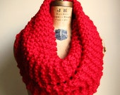 Super Snuggly chunky knit cowl Lipstick Red. Scarlet. Poppy.  Infinity scarf. Handmade knitwear. Oversized cowl.