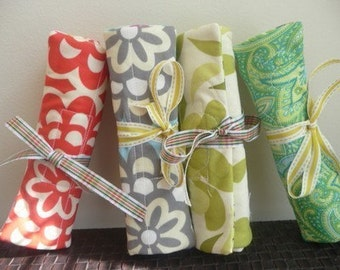 Bulk Hostess Gift Set of 7 Handmade Quilted Travel Jewelry Roll w/ Free Shipping
