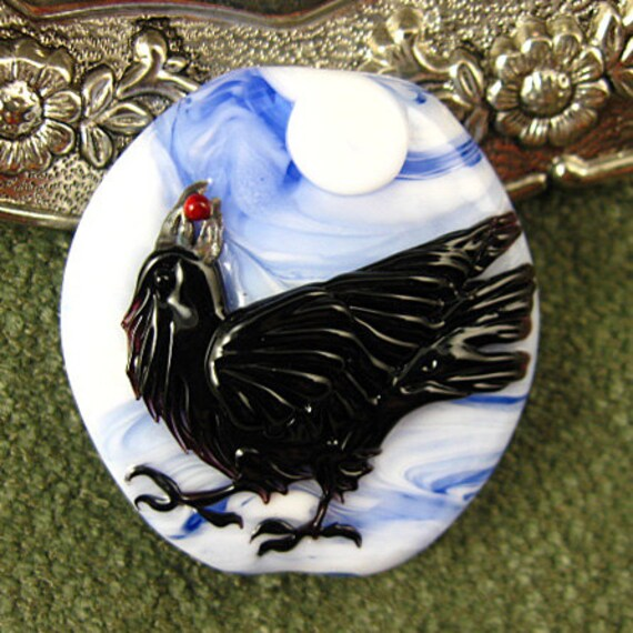 BONUS with this listing TODAY Lampwork Blue Moon Raven Focal Bead