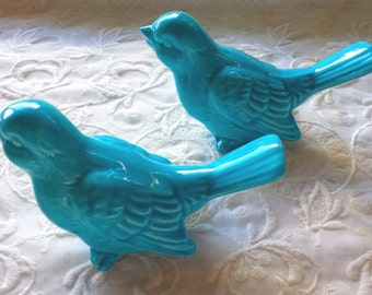 Wedding Cake Topper Ceramic Birds  Vintage Ceramic in Turquoise bird home decor