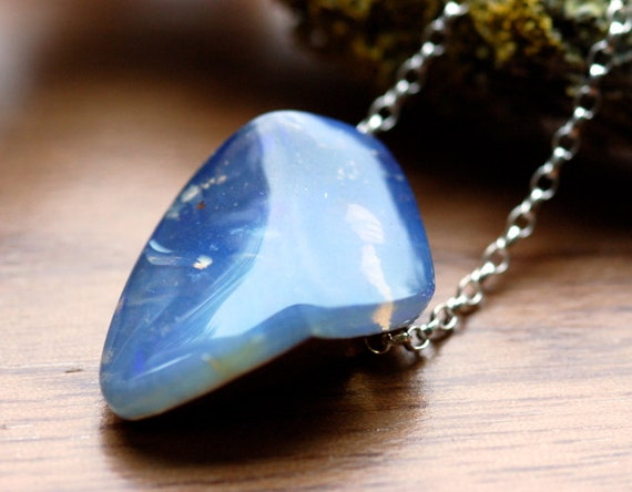 Raw Boulder Opal Pendant Necklace