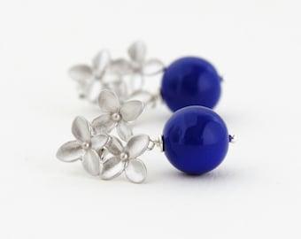 Monaco Blue Earrings - Silver Hydrangea Flower Post Earrings - Bridal Jewelry - Wedding Earrings - Gift For Woman - Gift For Her