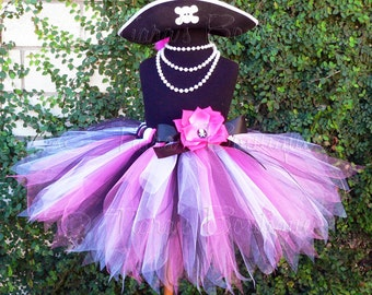 "Pink Black White Pirate Pixie Tutu and Hat Costume Set - Custom Sewn 13"" Pixie Tutu w/ Pirate Hat - Skull and Crossbones - sizes up to 5T"