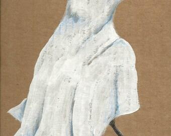 Ghostly Raven Halloween card blank