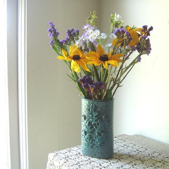 Oak Leaf Vase . Jade Blue
