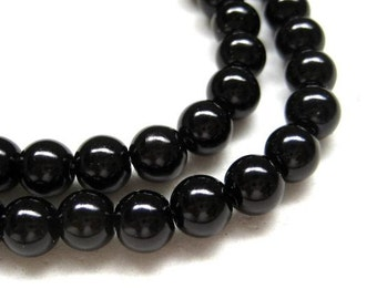 80pcs 8mm Glass pearl beads - Black