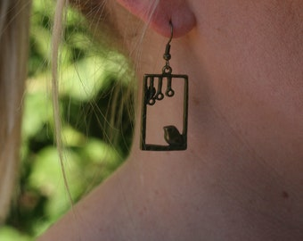 Square Bird Cage Earrings
