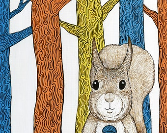 "Blue Acorn Squirrel Forest Art Print 8"" x10"""