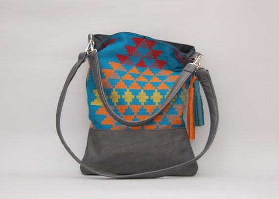 LUCIA TOTE /// black leather with southwestern navajo material