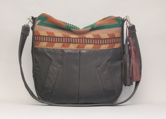 Brown leather Tundra navajo bag / southwestern / large slouchy bag / boho style / Tundra Bag