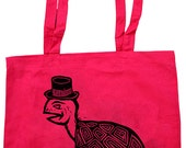 Turtle Block printed Red Cotton Tote