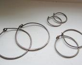 """Set of three - Sweet n' Simple Antique Brass Hoops 1 1/8"""" 3/4"""" 5/8"""""""