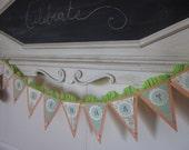 Celebrate garland banner party decoration greeen peach baby shower wedding