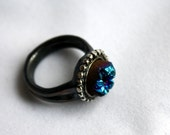 Drusy Deluxe, Blue Crystal Drusy in Heavy Sterling Silver Ring with Beaded Accents