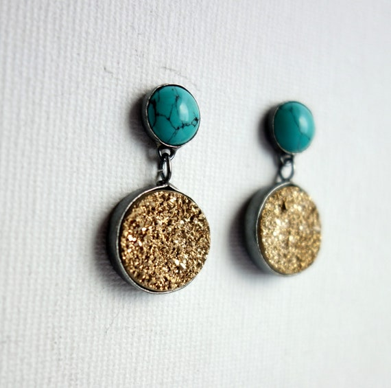 Sterling Silver Handmade Turquoise and Gold Drusy Dangle Earrings