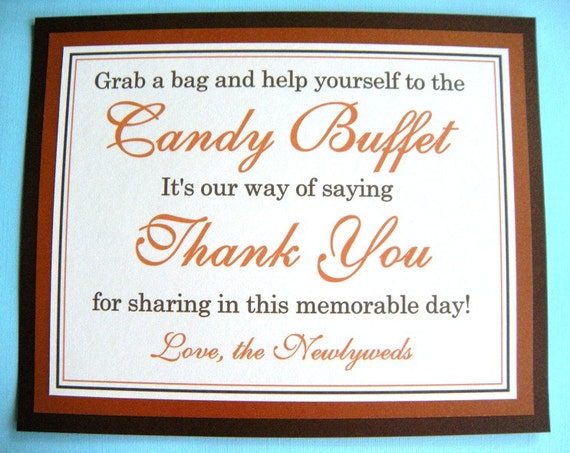 8x10 Flat Wedding Candy Buffet Sign in Brown, Burnt Orange and Ivory - READY TO SHIP