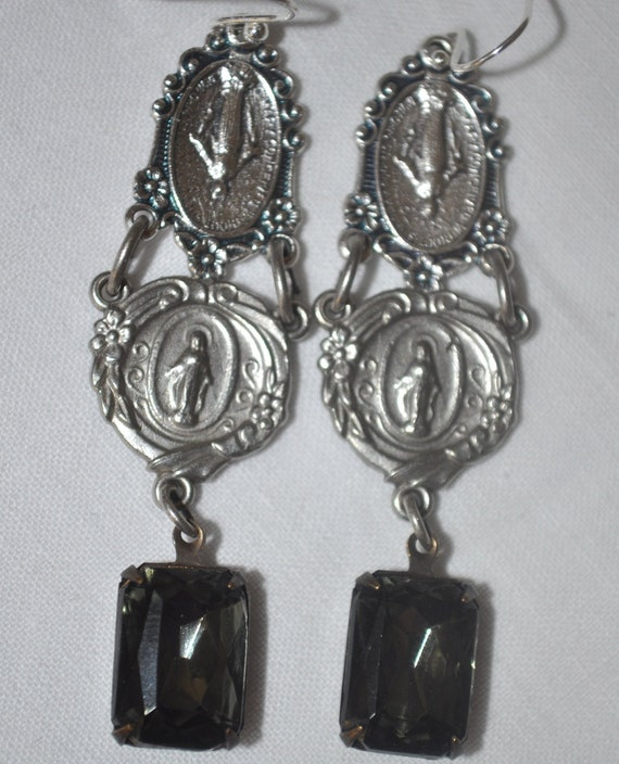Repurposed vintage rosary religious earrings with smokey gray rhinestone charm