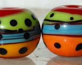 Salsa Spheres 2 red, green, blue and orange handmade glass beads by Beadfairy Lampwork, SRA