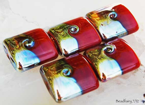 Lampwork beads in red and gold,  handmade nugget beads by Beadfairy Lampwork, SRA