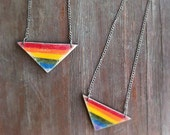 Pride Rainbow Necklace, handcut geometric wood necklace, handpainted necklace, made to order