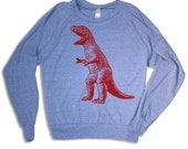 Womens vintage DINOSAUR Tri-Blend Pullover - american apparel S M L (blue)