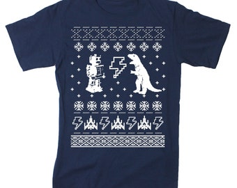 Ugly Christmas Sweater -- tShirt (Navy) dinosaur robot geek
