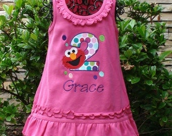 Elmo Birthday dress, Little Red Monster Birthday Dress, Girl Birthday dress, Elmo outfit, 1st birthday, 2nd birthday, sew cute creations