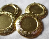 Round 32mm Brass Lockets with Fancy Border and 18mm Round Setting 4 Pcs