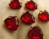 Siam Ruby Red 12mm Vintage Glass 12mm Heart Drops 6 Pcs