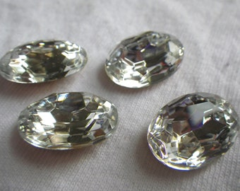 Crystal Clear Faceted Foiled Glass 18X13mm Oval Jewels 4 Pcs