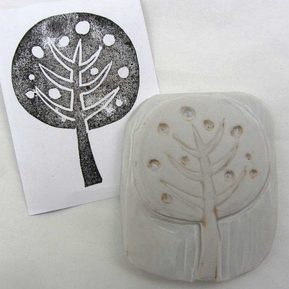 Hand carved abstract tree stamp