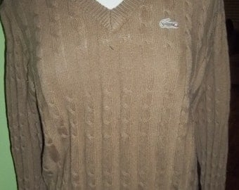 Preppy Geeky Chic Vintage LaCoste Izod V-Neck Sweater