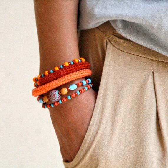 Wrap Crochet Cuff Bracelet in Orange, Rusty Brown and Aqua Blue