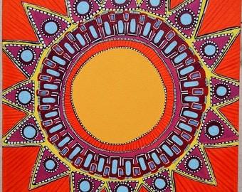 Original Mandala Art: Sunshine Inspirational Meditative Reflective