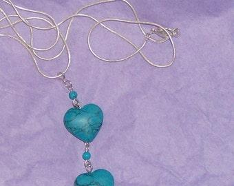 double heart faux turquoise pendant alone