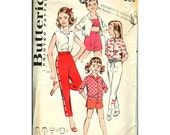 Vintage Pattern 1960s Butterick 9023 Girls shorts top blouse jacket halter pants size 10
