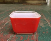 Vintage Pyrex red refrigerator dish with lid