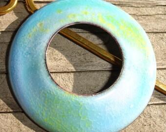 Handmade Circle Enamel Shawl Pin, Hair Pin or Pendant Pastel Blue, Yellow, Green, White, Enamelled Copper, Enamel on Copper, SRA (E147)