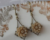 Chrysanthemum Earrings- Khaki- Store Closing Sale- Everything reduced 50%
