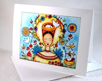 Blank Note Card, Mexican Folk Art Notecard, Blank Greeting Card, All Occasion Card, Original Girl Art Print