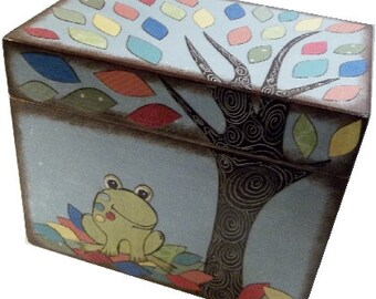 Wishes for Baby Box, Baby Shower Box, Holds 4x6 Wishes Cards, Decorative Gift for Baby or Child, Frog Recipe Box, Baby Storage MADE TO ORDER