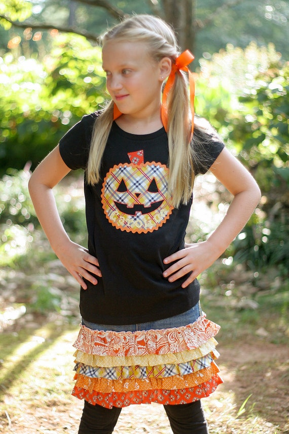 Boutique Custom Girls Halloween Pumpkin Fall Personalized Shirt - 3m - 10 - Caroline's Closet
