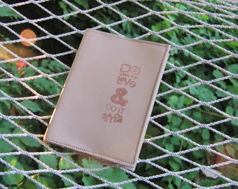 Taupe Leather Journal Small Refillable Notebook Mini Fits Back Pocket