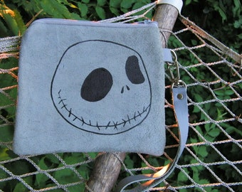 Jack Skelllington Skull Face on Grey Purse 6.25  x 6 wide