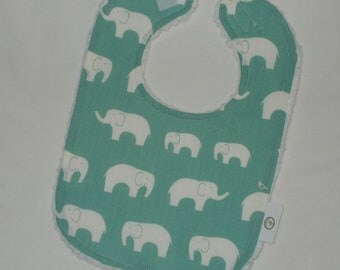 Organic Blue Ellie the Elephant and Chenille Bib
