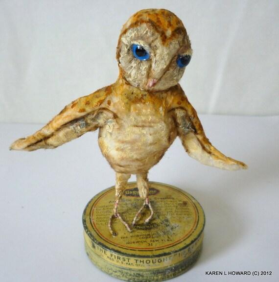 Tiny Barn Owlet on Unguentine Tin - -  Free USA Shipping