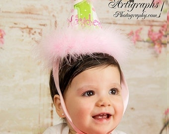 Girls First Birthday Party Hat - Pink and Green polka dots - Free personalization